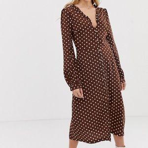 ASOS brown polka dot dress long sleeve midi dress